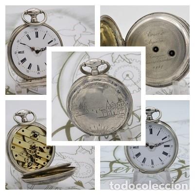 Relojes de bolsillo: RELOJ DE BOLSILLO BENOIT SUIZO-DE PLATA-CON PRECIOSO GRABADO-3 TAPAS-CIRCA 1890-FUNCIONANDO - Foto 3 - 148587174