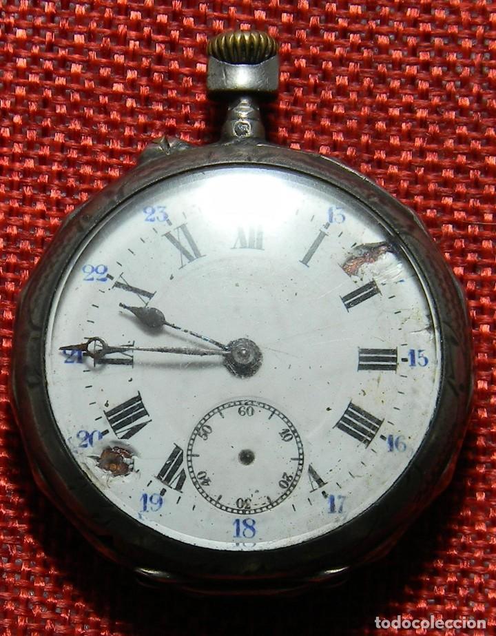 ANTIGUO RELOJ DE CABALLERO - CAJA DE PLATA CON MARCAS - 42 MM - ESFERA PORCELANA - FINALES XIX (Relojes - Bolsillo Carga Manual)