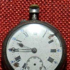 Relojes de bolsillo: ANTIGUO RELOJ DE CABALLERO - CAJA DE PLATA CON MARCAS - 42 MM - ESFERA PORCELANA - FINALES XIX. Lote 154482674