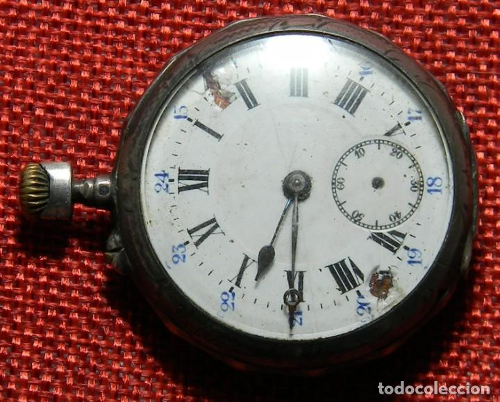 Relojes de bolsillo: Antiguo reloj de caballero - Caja de plata con marcas - 42 mm - Esfera porcelana - Finales XIX - Foto 3 - 154482674