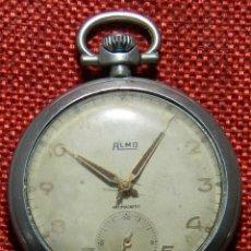 Relojes de bolsillo: ANTIGUO RELOJ DE CABALLERO. AÑOS 50 - MARCA ALMO - DIAMETRO 48 MM - . Lote 154483046