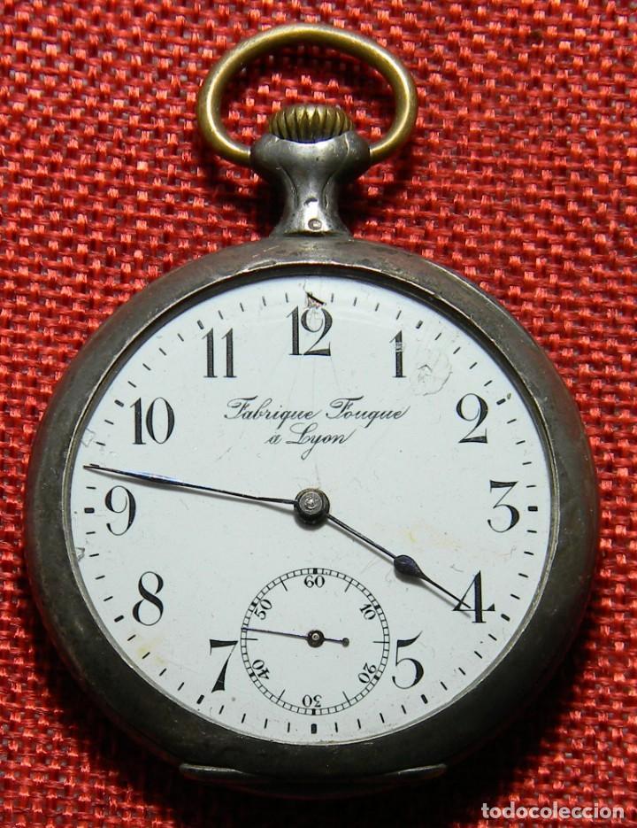 Relojes de bolsillo: Antiguo reloj Lepine caballero. Plata labrada - Principios siglo XX - Fouque a Lyon - 50 mm - Foto 2 - 154483442