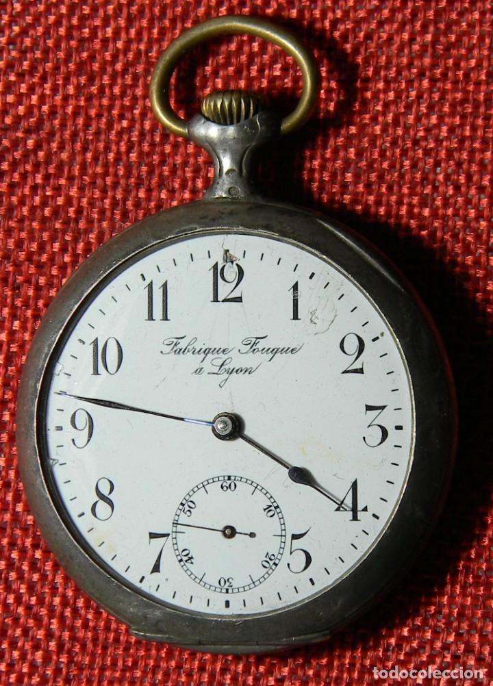 Relojes de bolsillo: Antiguo reloj Lepine caballero. Plata labrada - Principios siglo XX - Fouque a Lyon - 50 mm - Foto 3 - 154483442