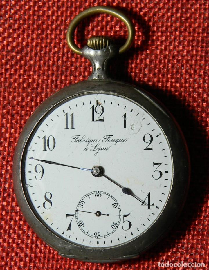 Relojes de bolsillo: Antiguo reloj Lepine caballero. Plata labrada - Principios siglo XX - Fouque a Lyon - 50 mm - Foto 5 - 154483442