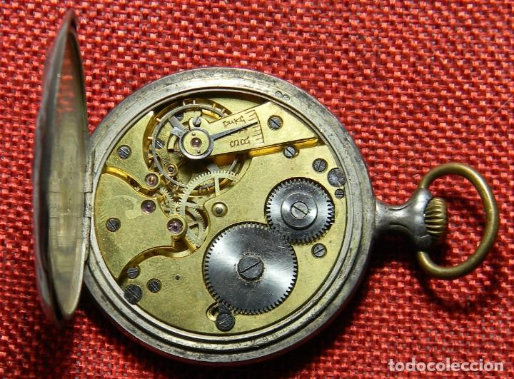 Relojes de bolsillo: Antiguo reloj Lepine caballero. Plata labrada - Principios siglo XX - Fouque a Lyon - 50 mm - Foto 8 - 154483442
