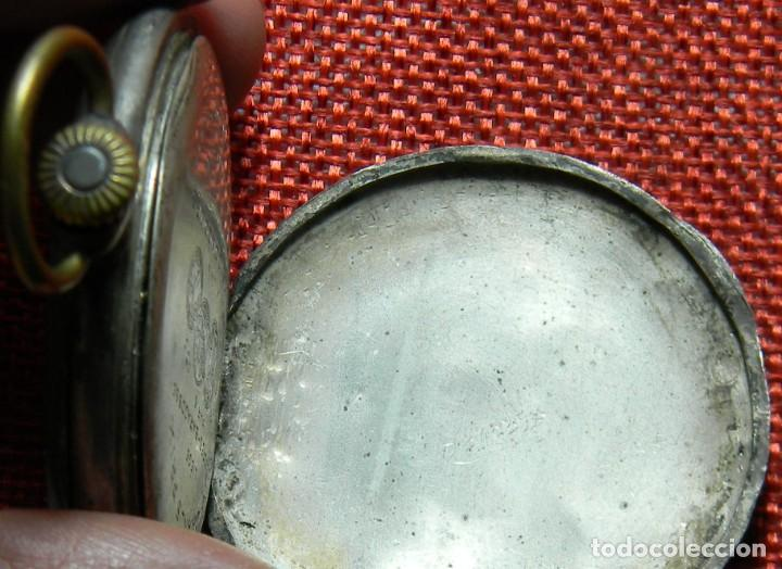 Relojes de bolsillo: Antiguo reloj Lepine caballero. Plata labrada - Principios siglo XX - Fouque a Lyon - 50 mm - Foto 11 - 154483442