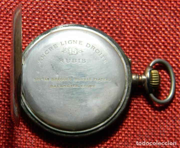 Relojes de bolsillo: Antiguo reloj Lepine. Plata 0,800 - Esfera porcelana - Ancre ligne Droite 15 Rubis Finales XIX 50 mm - Foto 3 - 154483842
