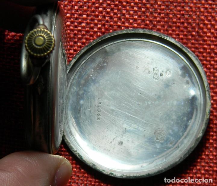 Relojes de bolsillo: Antiguo reloj Lepine. Plata 0,800 - Esfera porcelana - Ancre ligne Droite 15 Rubis Finales XIX 50 mm - Foto 6 - 154483842