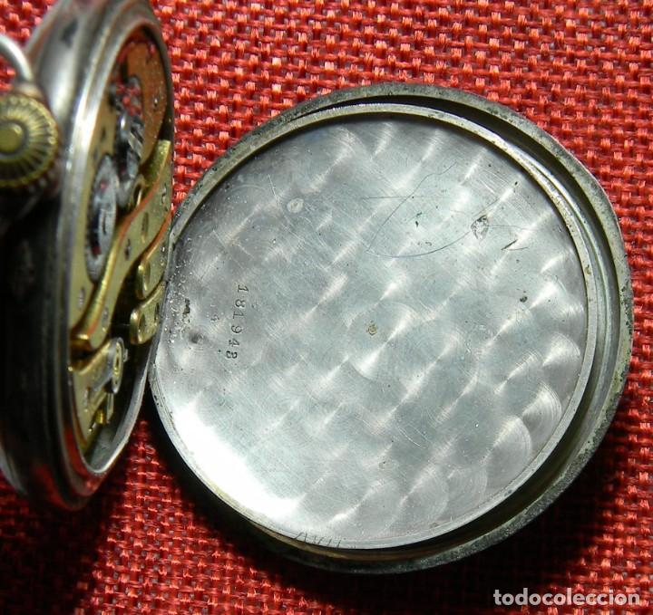Relojes de bolsillo: Antiguo reloj Lepine. Plata 0,800 - Esfera porcelana - Ancre ligne Droite 15 Rubis Finales XIX 50 mm - Foto 7 - 154483842