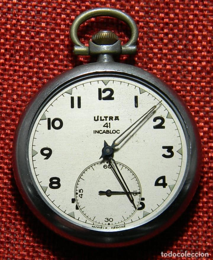 ANTIGUO RELOJ LEPINE. MARCA ULTRA 41 INCABLOC - AÑOS 40 - NICKEL - 49 MM (Relojes - Bolsillo Carga Manual)