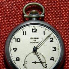 Relojes de bolsillo: ANTIGUO RELOJ LEPINE. MARCA ULTRA 41 INCABLOC - AÑOS 40 - NICKEL - 49 MM. Lote 154484202