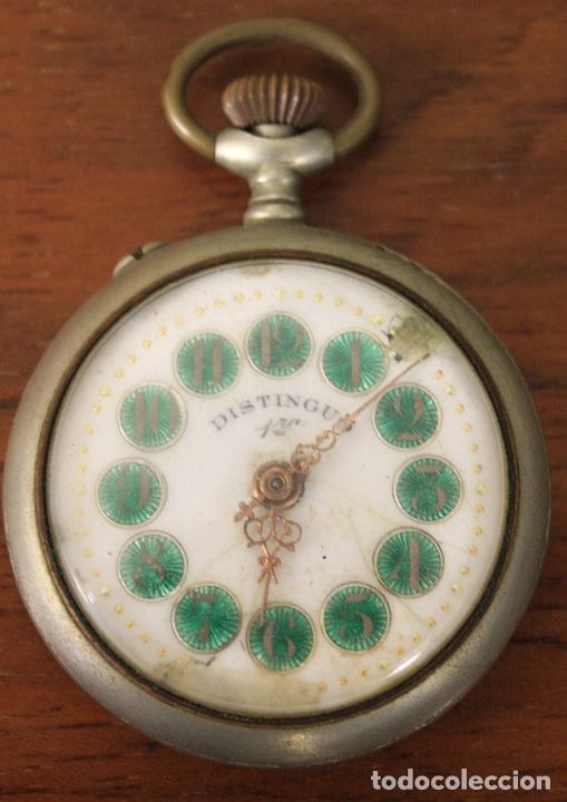 RELOJ DE BOLSILLO DISTINGUO 1ª. PARA DESPIECE, NO FUNCIONA (Relojes - Bolsillo Carga Manual)
