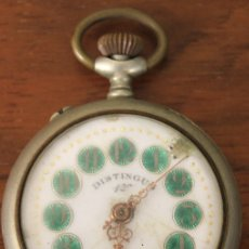 Relojes de bolsillo: RELOJ DE BOLSILLO DISTINGUO 1ª. PARA DESPIECE, NO FUNCIONA. Lote 154644108