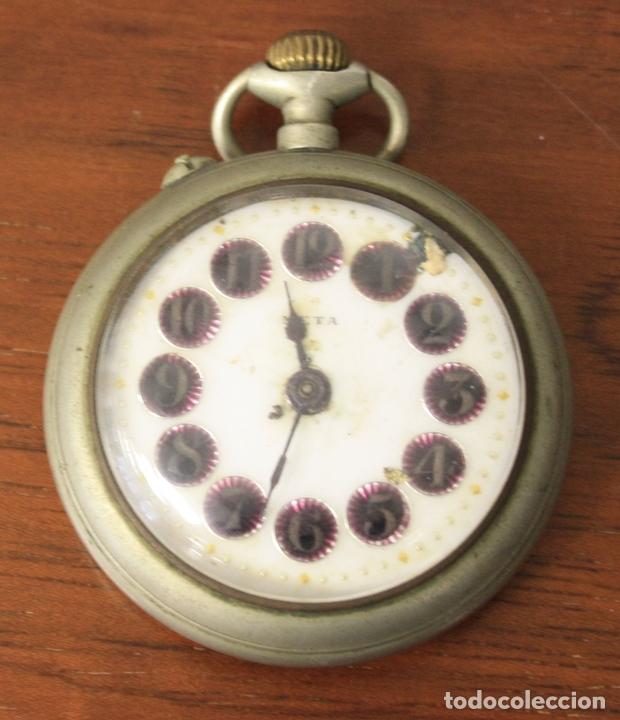 RELOJ DE BOLSILLO META. NO FUNCIONA, PARA DESPIECE (Relojes - Bolsillo Carga Manual)