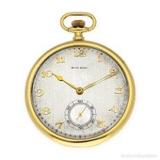 Relojes de bolsillo: RELOJ DE BOLSILLO VINTAGE MOVADO DE ORO 18K CUERDA MANUAL. Lote 154822570