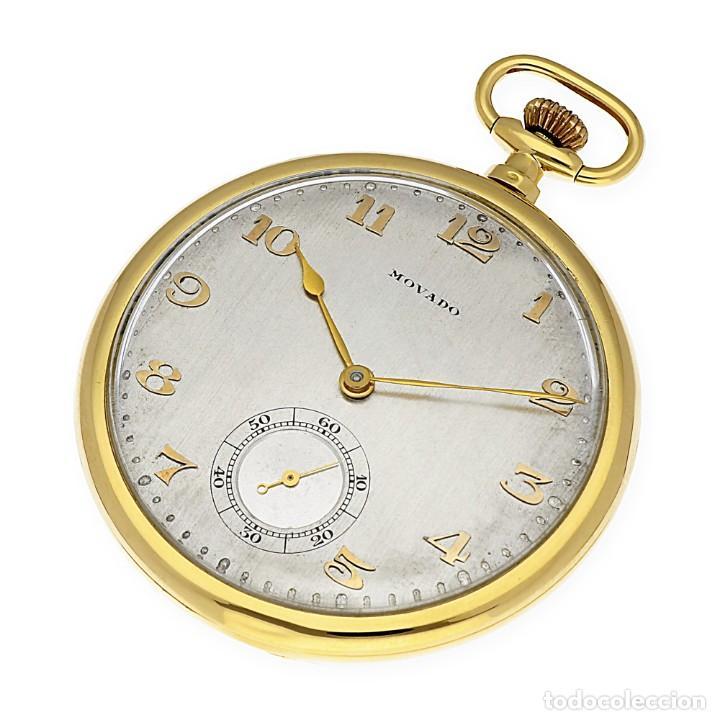 Relojes de bolsillo: RELOJ DE BOLSILLO VINTAGE MOVADO DE ORO 18K CUERDA MANUAL - Foto 2 - 154822570