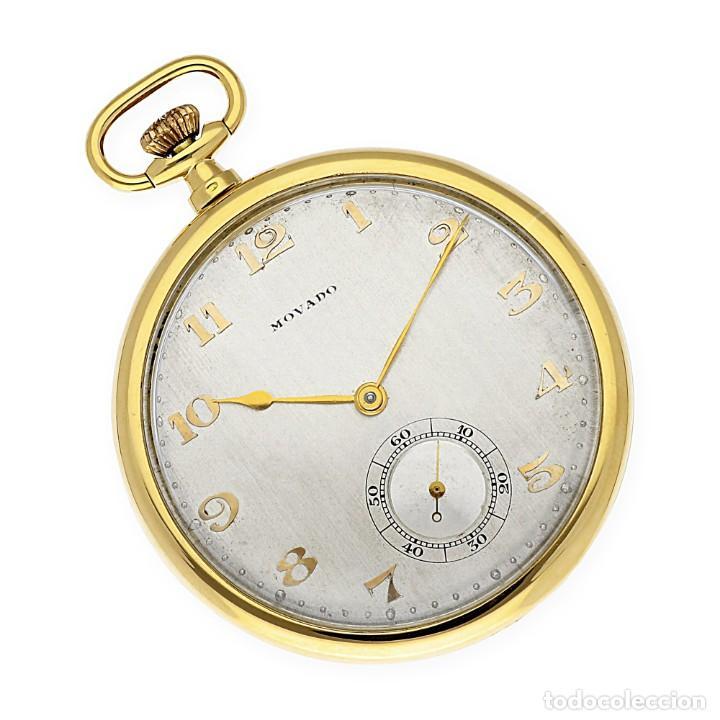 Relojes de bolsillo: RELOJ DE BOLSILLO VINTAGE MOVADO DE ORO 18K CUERDA MANUAL - Foto 3 - 154822570