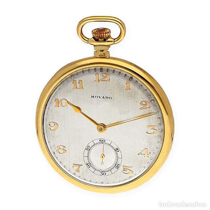 Relojes de bolsillo: RELOJ DE BOLSILLO VINTAGE MOVADO DE ORO 18K CUERDA MANUAL - Foto 5 - 154822570