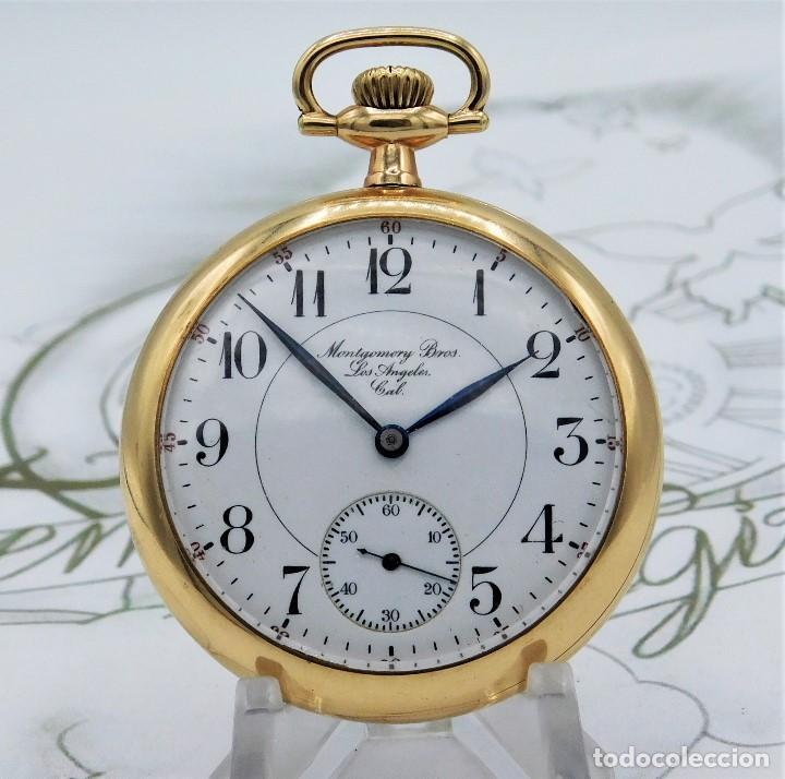 MONTGOMERY BROS-ELGIN-USA-FANTASTICO RELOJ DE BOLSILLO-BISEL Y TAPA ROSCADA-CIRCA 1918-FUNCIONANDO (Relojes - Bolsillo Carga Manual)