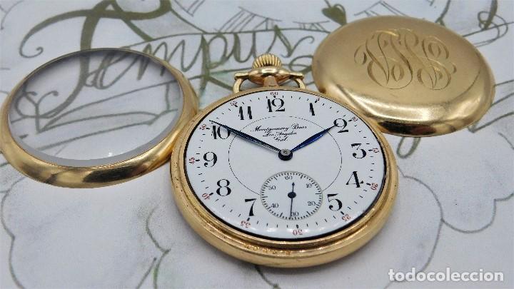Relojes de bolsillo: MONTGOMERY BROS-ELGIN-USA-FANTASTICO RELOJ DE BOLSILLO-BISEL Y TAPA ROSCADA-CIRCA 1918-FUNCIONANDO - Foto 2 - 155396342
