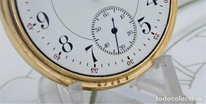 Relojes de bolsillo: MONTGOMERY BROS-ELGIN-USA-FANTASTICO RELOJ DE BOLSILLO-BISEL Y TAPA ROSCADA-CIRCA 1918-FUNCIONANDO - Foto 5 - 155396342