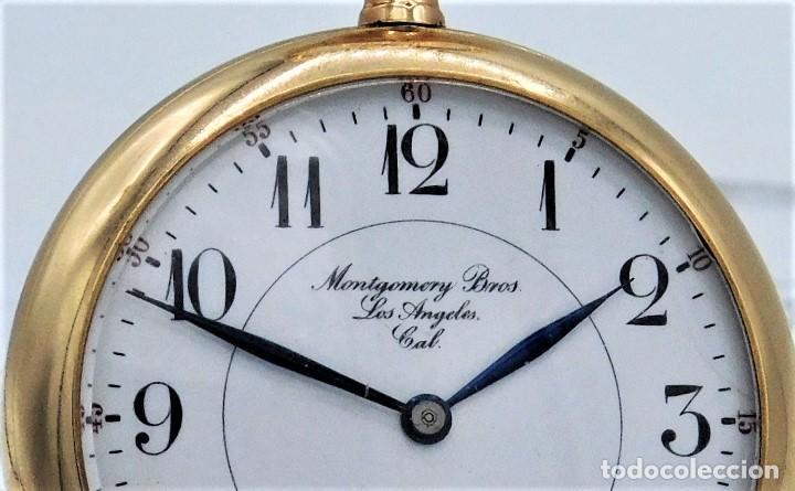 Relojes de bolsillo: MONTGOMERY BROS-ELGIN-USA-FANTASTICO RELOJ DE BOLSILLO-BISEL Y TAPA ROSCADA-CIRCA 1918-FUNCIONANDO - Foto 6 - 155396342
