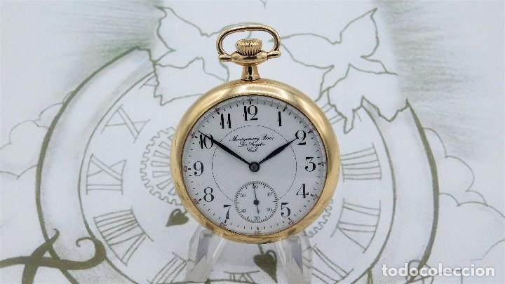 Relojes de bolsillo: MONTGOMERY BROS-ELGIN-USA-FANTASTICO RELOJ DE BOLSILLO-BISEL Y TAPA ROSCADA-CIRCA 1918-FUNCIONANDO - Foto 7 - 155396342