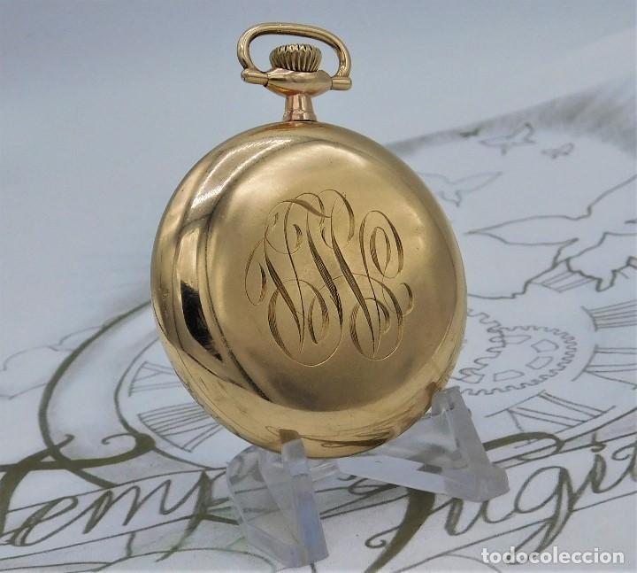 Relojes de bolsillo: MONTGOMERY BROS-ELGIN-USA-FANTASTICO RELOJ DE BOLSILLO-BISEL Y TAPA ROSCADA-CIRCA 1918-FUNCIONANDO - Foto 9 - 155396342