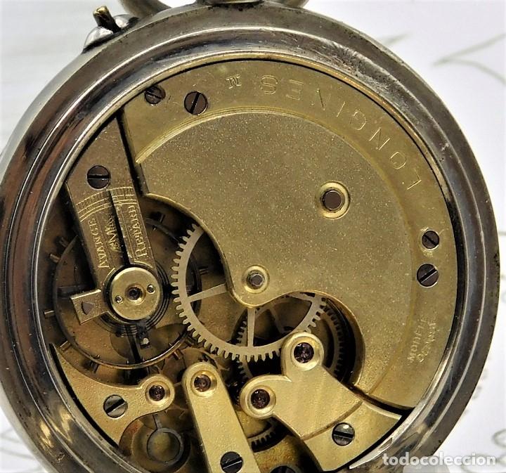 LONGINES-RELOJ DE BOLSILLO REMONTOIRE-2 TAPAS-CIRCA 1894-FUNCIONANDO (Relojes - Bolsillo Carga Manual)
