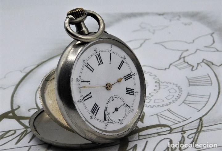 Relojes de bolsillo: LONGINES-RELOJ DE BOLSILLO REMONTOIRE-2 TAPAS-CIRCA 1894-FUNCIONANDO - Foto 12 - 155443866