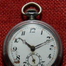Relojes de bolsillo: RELOJ LEPINE CABALLERO. - ACERO - ESFERA PORCELANA - 46 MM DIAMETRO - AÑOS 40 - FUNCIONA. Lote 155826570