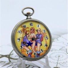 Relojes de bolsillo: DOXA-ERÓTICO AUTÓMATA-RELOJ DE BOLSILLO-PINTADO A MANO-2 TAPAS-FUNCIONANDO. Lote 155846750