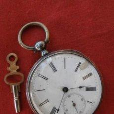 Relojes de bolsillo: ANTIGUO RELOJ SUIZO DE BOLSILLO EN PLATA MECÁNICO DE CUERDA MANUAL A LLAVE AÑO 1850 1890 Y FUNCIONA. Lote 155866866