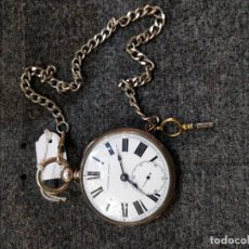 Relojes de bolsillo: RELOJ DE BOLSILLO EN PLATA, ESTILO SEMI CATALINA, SIN MARCA. FUNCIONANDO, CUERDA 18 A 20H. Lote 155918566