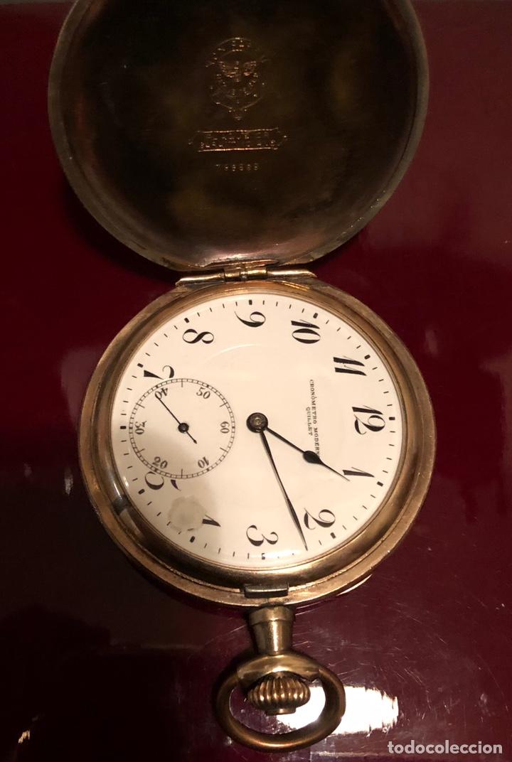 Relojes de bolsillo: Antiguo reloj de bolsillo, 3 tapas, cronómetro moderno Quillet. Plaque oro - Foto 3 - 156998250