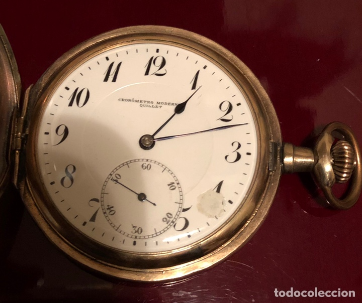 Relojes de bolsillo: Antiguo reloj de bolsillo, 3 tapas, cronómetro moderno Quillet. Plaque oro - Foto 4 - 156998250