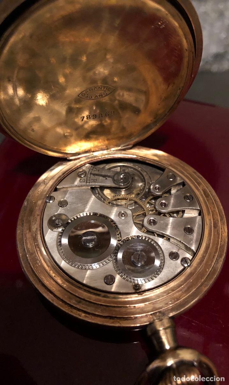Relojes de bolsillo: Antiguo reloj de bolsillo, 3 tapas, cronómetro moderno Quillet. Plaque oro - Foto 6 - 156998250