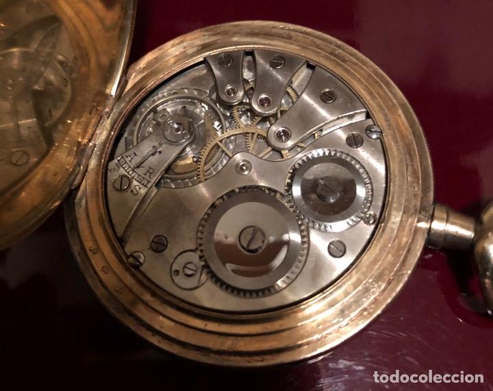 Relojes de bolsillo: Antiguo reloj de bolsillo, 3 tapas, cronómetro moderno Quillet. Plaque oro - Foto 7 - 156998250