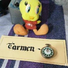 Relojes de bolsillo: BOTITO RELOJ DE BOLSILLO ROSCOS CON LINDA ESFERA, IDEAL PARA REPARAR O PIEZAS, AUNQUE BOCABAJO ANDA. Lote 157743070