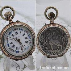 Relojes de bolsillo: PRECIOSO RELOJ DE BOLSILLO GENIUS-TIROLÉS REMONTOIR-DE PLATA-3 TAPAS-FUNCIONANDO. Lote 158310666