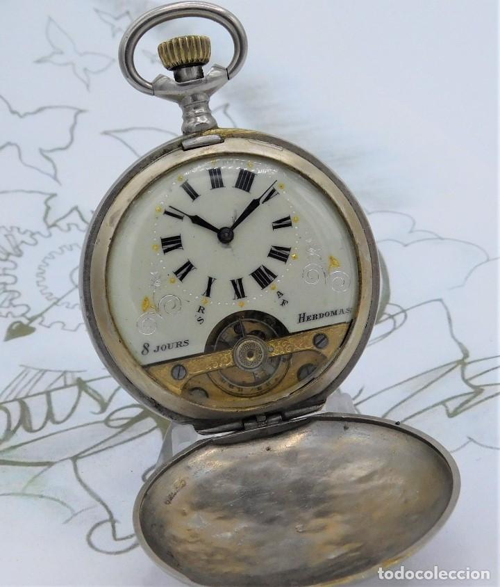 Relojes de bolsillo: HEBDOMAS-RELOJ DE BOLSILLO SABONETA 8 DÍAS-FUNCIONANDO - Foto 6 - 158723494