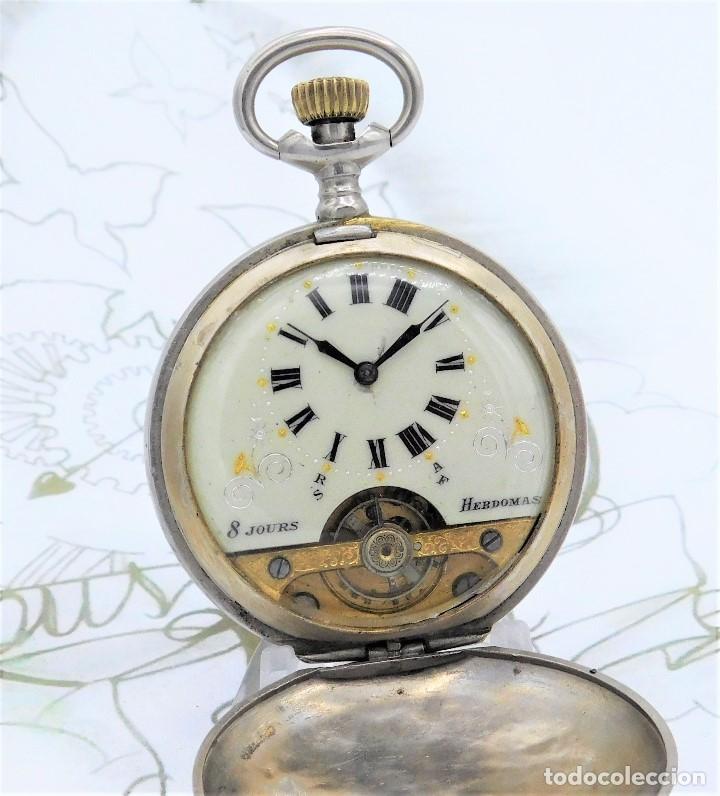HEBDOMAS-RELOJ DE BOLSILLO SABONETA 8 DÍAS-FUNCIONANDO (Relojes - Bolsillo Carga Manual)