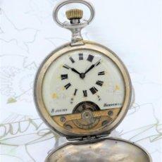Relojes de bolsillo: HEBDOMAS-RELOJ DE BOLSILLO SABONETA 8 DÍAS-FUNCIONANDO. Lote 158723494