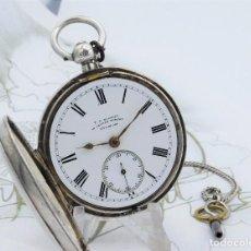Relojes de bolsillo: T.R.RUSSELL-RELOJ DE BOLSILLO-DE PLATA-CIRCA 1886-FUSEE-CON LEONTINA DE PLATA Y LLAVE-FUNCIONANDO. Lote 158853742