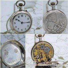 Relojes de bolsillo: ANTIGUO RELOJ DE BOLSILLO DE PLATA REMONTOIRE CYLINDRE-6 RUBÍES-FUNCIONANDO. Lote 158896474