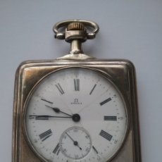 Relojes de bolsillo: RELOJ BOLSILLO OMEGA CUADRADO EN PLATA GRAND PRIX PARIS 1900. NO FUNCIONA.. Lote 159216752