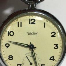 Relojes de bolsillo: RELOJ DE BOLSILLO CRISTAL WATCH ANTICHOC MAQUINARIA SWISS MADE EN FUNCIONAMIENTO. Lote 165287530