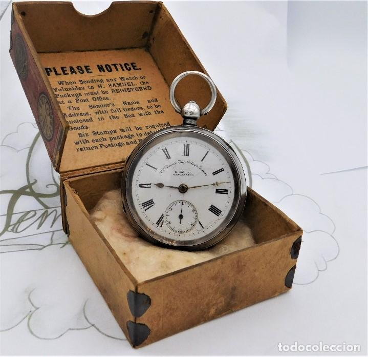 Relojes de bolsillo: H.SAMUEL- RELOJ DE BOLSILLO-DE PLATA-CAJA ORIGINAL-CIRCA 1895-FUSEE-FUNCIONANDO - Foto 3 - 159784602