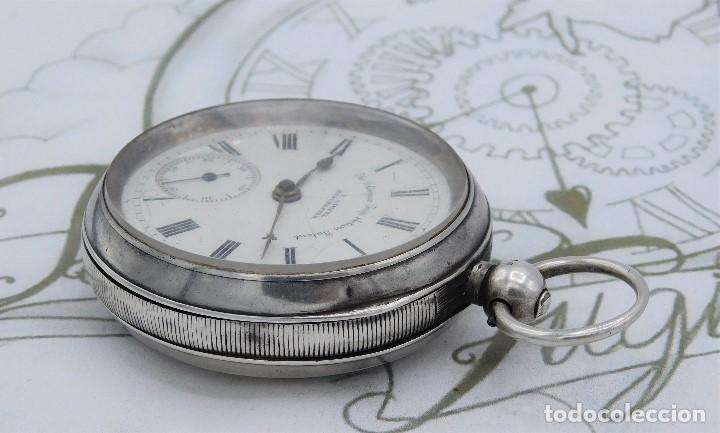 Relojes de bolsillo: H.SAMUEL- RELOJ DE BOLSILLO-DE PLATA-CAJA ORIGINAL-CIRCA 1895-FUSEE-FUNCIONANDO - Foto 4 - 159784602