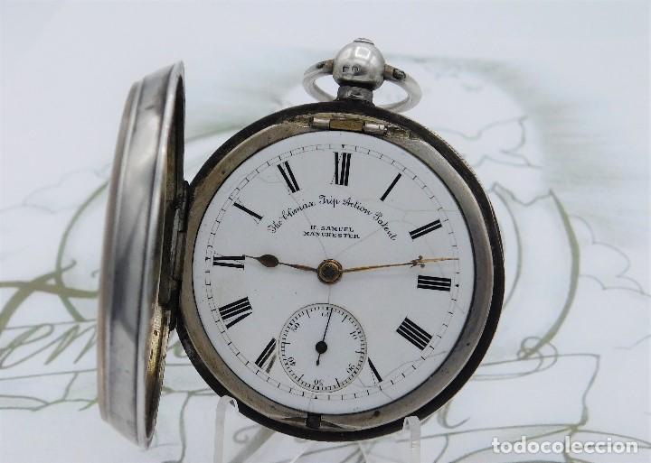 Relojes de bolsillo: H.SAMUEL- RELOJ DE BOLSILLO-DE PLATA-CAJA ORIGINAL-CIRCA 1895-FUSEE-FUNCIONANDO - Foto 5 - 159784602